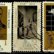 Sellos: CUBA SCOTT: 0927-28-30-(1964) (TOMAS ROMAY) USADO. Lote 195507801