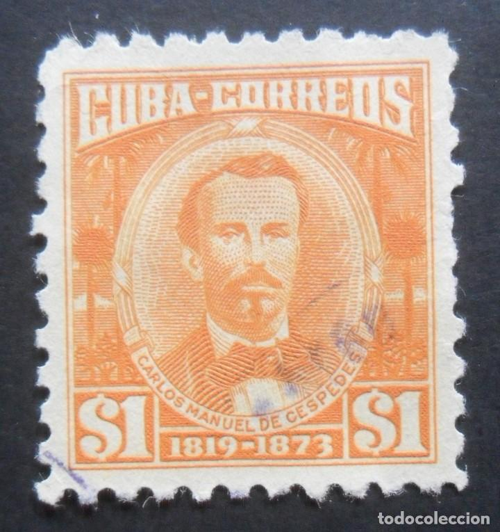 1 SELLOS CUBA 1954 - 1 PESO - CARLOS MANUEL DE CESPEDES (Sellos - Extranjero - América - Cuba)
