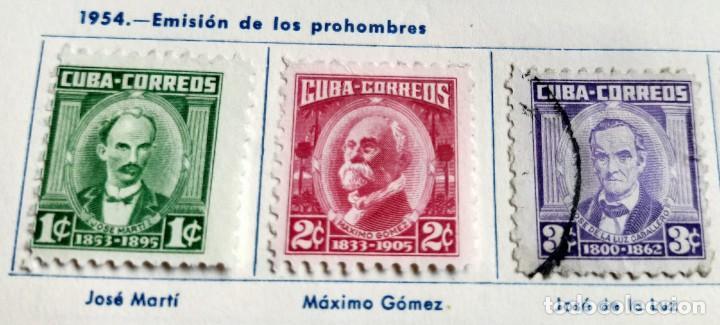 7 SELLOS DE SERIE DE 10 CUBA 1954 EMISIÓN DE LOS PROHOMBRES 1,2,3,5,10 Y 13 CENTAVOS (Sellos - Extranjero - América - Cuba)