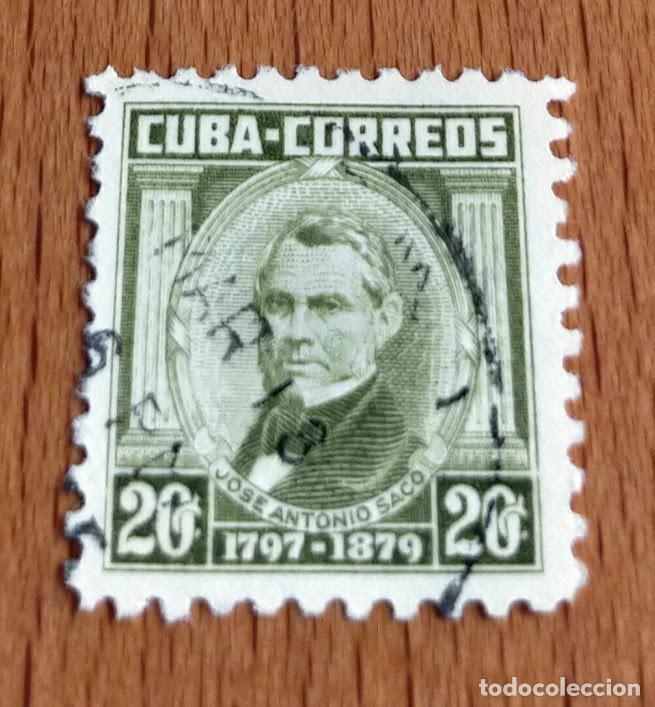 SELLO REPUBLICA DE CUBA 1954 JOSÉ ANTONIO SACO 20 C SELLO USADO (Sellos - Extranjero - América - Cuba)