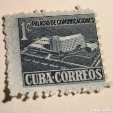 Sellos: SELLO REPUBLICA DE CUBA 1957 PALACIO COMUNICACIONES 1 CENTAVO AZUL. Lote 198783895