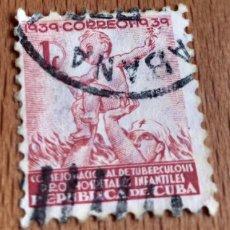 Sellos: SELLO CUBA 1939 CONSEJO NACIONAL TUBERCULOSIS / HOSPITALES INFANTILES 1 CENTAVO. Lote 199645856