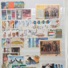 Sellos: FICHA CON MÁS DE 50 SELLOS USADOS CUBA. Lote 200154380