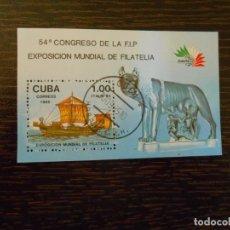 Sellos: CUBA-HOJA BLOQUE PEQUEÑA-1 SELLO-EXPOSICIÓN MUNDIAL FILATELIA-1985. Lote 203283791