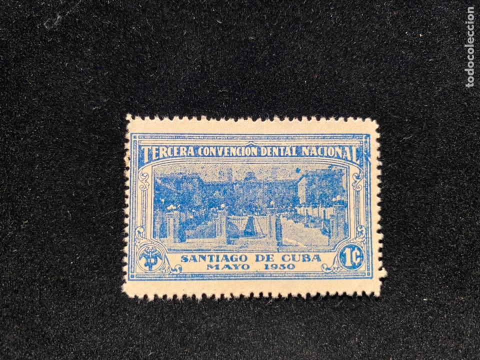 VIÑETA SELLO CONVENCION DENTAL SANTIAGO DE CUBA 1930 (Sellos - Extranjero - América - Cuba)