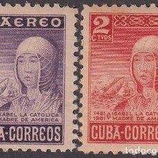 """Timbres: """"1952-448 CUBA REPUBLICA 1952 ED.476-77 ISABEL LA CATOLICA. LIGERAS MANCHAS."""". Lote 209272016"""