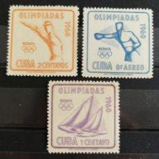 Sellos: CUBA, OLIMPIADAS DE ROMA 1960 MNH (FOTOGRAFÍA REAL). Lote 211456506