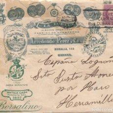Francobolli: CUBA - SOBRE COMERCIAL DE FABRICA DE SOMBREROS Y ALMACEN LA INDIA DE ARREDONDO PEREZ Y CIA LA HABANA. Lote 212574320