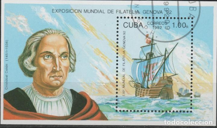 LOTE (17) SELLO HOJA CUBA TEMA CRISTOBAL COLON (Sellos - Extranjero - América - Cuba)