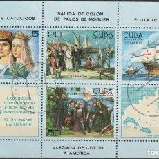Selos: LOTE (17) SELLOS HOJA CUBA TEMA CRISTOBAL COLON. Lote 218002103