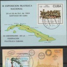 Sellos: LOTE (17) SELLOS HOJAS CUBA TEMA FERROCAIL. Lote 218002648
