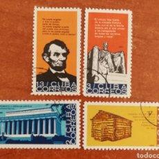 Sellos: CUBA N°835/38 USADA, CENTENARIO DE LA MUERTE DE ABRAHAM LINCOLN 1965 (FOTOGRAFÍA REAL). Lote 220257818