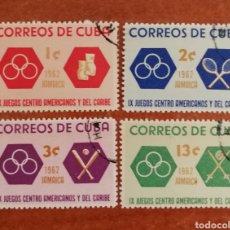 Sellos: CUBA N°1506/09 USADA, JUEGOS CENTROAMERICANOS Y DEL CARIBE 1962 (FOTOGRAFÍA REAL). Lote 220260282