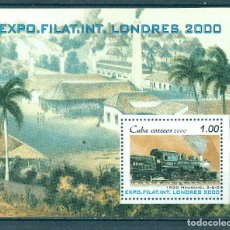 Francobolli: 4291 CUBA 2000 MNH INTERNATIONAL STAMP EXHIBITION STAMP SHOW 2000 - LONDON, ENGLAND - STEAM LOCOMOTI. Lote 220907967