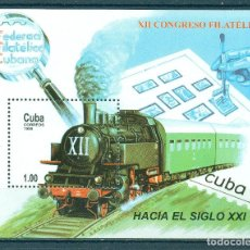 Francobolli: 4266 CUBA 1999 MNH THE 12TH CUBAN PHILATELIC FEDERATION CONGRESS STAMPS ON STAMPS, THE TRAINS, PHILA. Lote 220907977