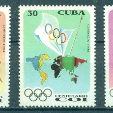 Sellos: 3771-3 CUBA 1994 MLH THE 100TH ANNIVERSARY OF THE INTERNATIONAL OLYMPIC COMMITTEE SPORT, OLYMPIC GAM. Lote 220911262