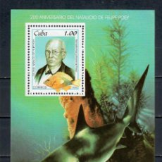 Selos: 4225-2 CUBA 1999 MLH THE 200TH ANNIVERSARY OF THE BIRTH OF FELIPE POEY - FISH SCIENTISTS, FISH. Lote 220911823