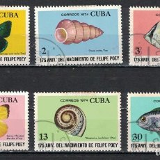 Francobolli: 1972-3 CUBA 1974 U THE 175TH ANNIVERSARY OF THE BIRTH OF FELIPE POEY FISH, BUTTERFLIES, SEA SHELLS,. Lote 220912300