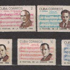 Sellos: 1229-2 CUBA 1966 MLH SONG FESTIVAL NOTES, MUSICIANS. Lote 221676260