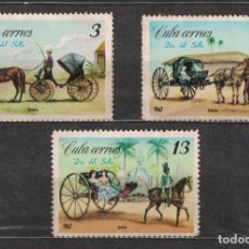 Sellos: 1290-2 CUBA 1967 NG STAMP DAY - CARRIAGES HORSES, TRANSPORT, CARTS. Lote 221676265