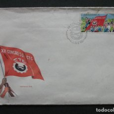 Sellos: CUBA - SOBRE PRIMER DIA XII CONGRESO CTC 1966. Lote 222139448