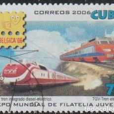Sellos: CUBA 2006 SCOTT 4637 SELLO * TREN FERROCARRIL TEE DIESEL-ELECTRIC, TGV ELECTRIC EXPO BELGICA M 4866. Lote 235599810