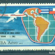 Sellos: 1785-2 CUBA 1972 U AIRMAIL - THE 1ST ANNIVERSARY OF THE HAVANA-SANTIAGO DE CHILE AIR SERVICE CARDS,. Lote 222683158