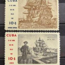 Sellos: CUBA, DÍA DEL SELLO 1962 MNH** (FOTOGRAFÍA REAL). Lote 223196385