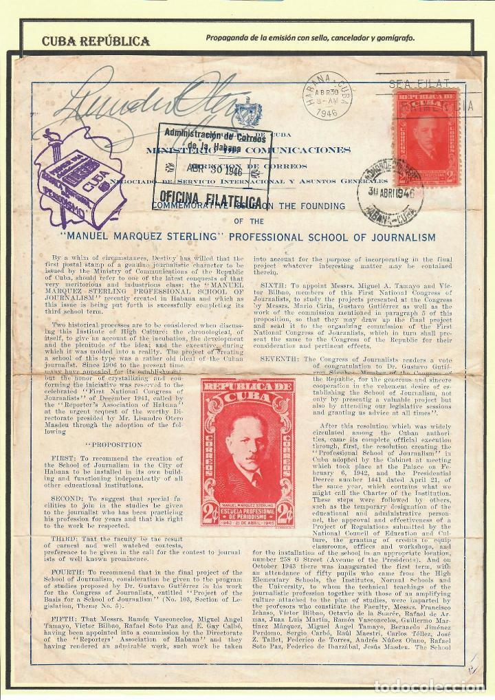 Sellos: kol-207 Cuba 1946 Founding of Manuel Marquez Sterling School of Journalism - Foto 3 - 226334468