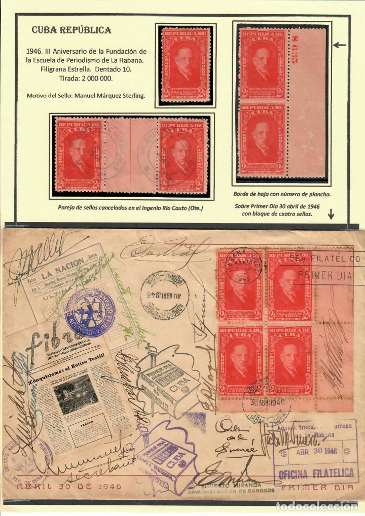 KOL-207 CUBA 1946 FOUNDING OF MANUEL MARQUEZ STERLING SCHOOL OF JOURNALISM (Sellos - Extranjero - América - Cuba)