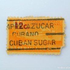 Sellos: SELLO POSTAL CUBA 1960, 12 ¢, AVION SOBREVOLANDO LA COSTA, OVERPRINTED ROJO, USADO. Lote 230232975