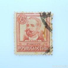 Sellos: SELLO POSTAL CUBA 1917, 50 ¢, ANTONIO MACEO, USADO. Lote 230279355