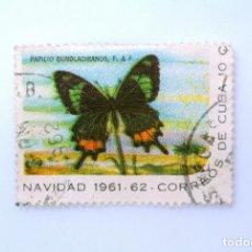 Sellos: SELLO POSTAL CUBA 1961, 10 ¢, NAVIDAD 1961-62, MARIPOSA COLA DE GOLONDRINA, DOBLE IMPRESION, USADO. Lote 230325950