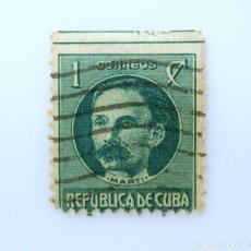 Sellos: SELLO POSTAL CUBA 1925, 1 ¢, JOSÉ JULIAN MARTÍ, RAREZA: MISCUT SUPERIOR, USADO. Lote 230478235