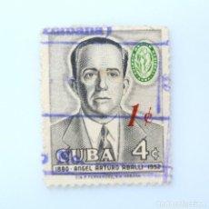 Sellos: SELLO POSTAL CUBA 1960, 1 ¢, ANGEL ARTURO ABALLI, OVERPRINTED ROJO, USADO. Lote 230486275
