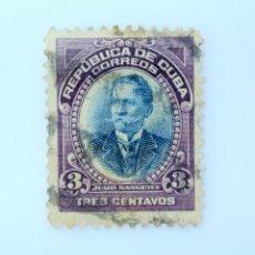 Sellos: SELLO POSTAL CUBA 1910, 3 ¢, JULIO SANGUILY, USADO. Lote 230565895