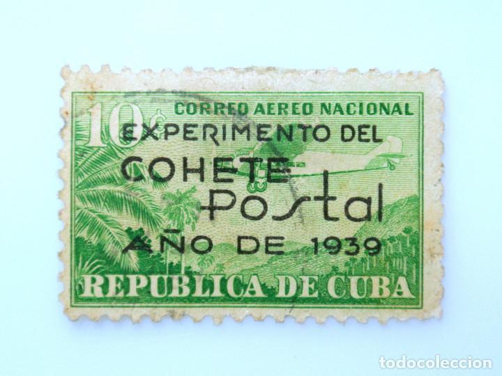 SELLO POSTAL CUBA 1939, 10 ¢, EXPERIMENTO DEL COHETE POSTAL, USADO (Sellos - Extranjero - América - Cuba)
