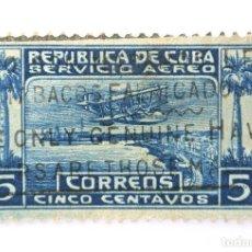 Sellos: SELLO POSTAL CUBA 1927, 5 ¢, PUERTO DE LA CAPITAL CON SOBRECARGA DE AVION, USADO. Lote 230630135