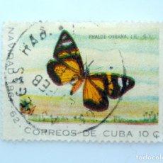 Sellos: SELLO POSTAL CUBA 1961, 10 ¢, NAVIDAD 1961-61 MARIPOSA PHALOE CUBANA, RAREZA DOBLE IMPRESION, USADO. Lote 230646575