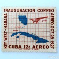 Sellos: SELLO POSTAL CUBA 1957, 10 ¢, INAUGURACION CORREO KEY WEST-HABANA, USADO. Lote 230649970