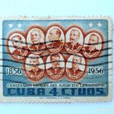 Sellos: SELLO POSTAL CUBA 1957, 4 ¢, CENTENARIO GENERALES DEL EJERCITO LIBERTADOR, USADO. Lote 230651290
