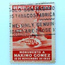 Sellos: SELLO POSTAL CUBA 1936, 2 ¢, MONUMENTO A MAXIMO GOMEZ, USADO. Lote 230653775