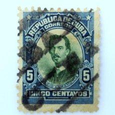 Sellos: SELLO POSTAL CUBA 1910, 5 ¢, IGNACIO AGRAMONTE , USADO. Lote 230662925