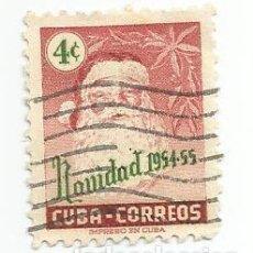 Sellos: SELLO USADO DE CUBA DE 1954- SANTA CLAUS NAVIDAD - YVERT 418- VALOR 4 CENTAVOS. Lote 231056445