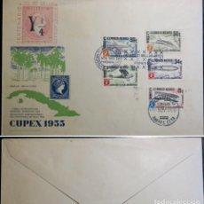 Timbres: CUBA. SOBRE PRIMER DIA.1955 EXPOSICIÓN FILATELICA INTERNACIONAL CUPEX. AIRPLANE AVION ZEPPELIN. Lote 233598260
