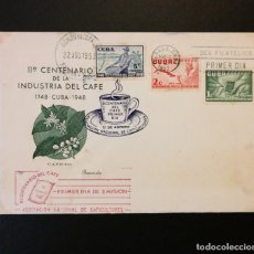 Timbres: CUBA. FDC 1952. SOBRE PRIMER DIA. BICENTENARIO INDUSTRIA CAFE.. Lote 233617925