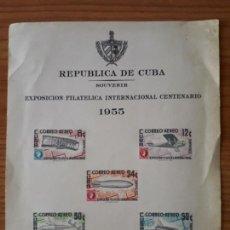 Selos: CUBA EXPOSICION FILATELICA INTERNACIONAL 1955 HOJA RECUERDO. Lote 234872715