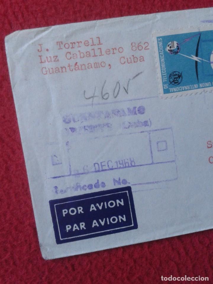 Sellos: ANTIGUO SOBRE CIRCULADO ENTRE GUANTÁNAMO (CUBA) Y ESPAÑA 1968 CON SELLOS CERTIFICADO, COVER ENVELOPE - Foto 2 - 235065270