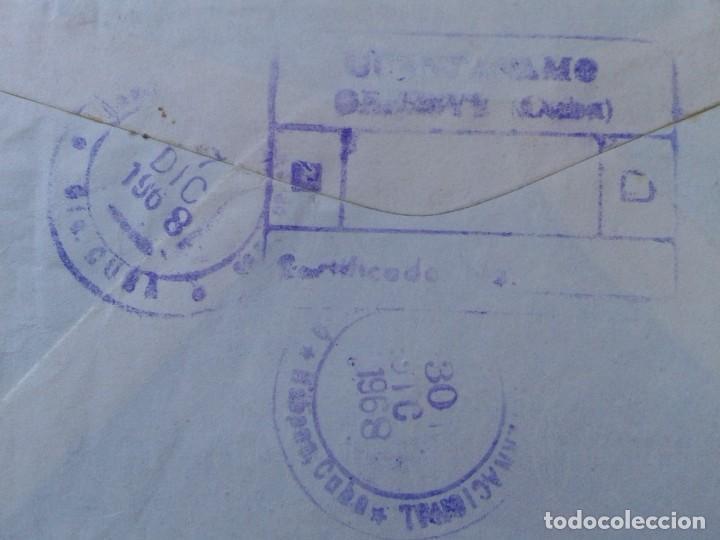 Sellos: ANTIGUO SOBRE CIRCULADO ENTRE GUANTÁNAMO (CUBA) Y ESPAÑA 1968 CON SELLOS CERTIFICADO, COVER ENVELOPE - Foto 6 - 235065270