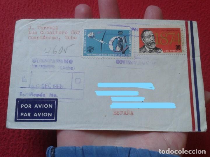 Sellos: ANTIGUO SOBRE CIRCULADO ENTRE GUANTÁNAMO (CUBA) Y ESPAÑA 1968 CON SELLOS CERTIFICADO, COVER ENVELOPE - Foto 7 - 235065270